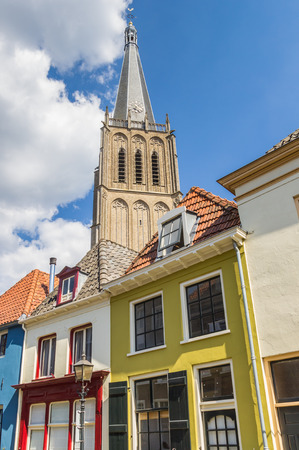 Colorful houses and church tower in Doesburg, Netherlands