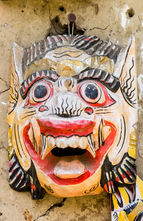 Traditional Balinese mask at a souvenir shop in Tenganan village, Indonesia Imagens