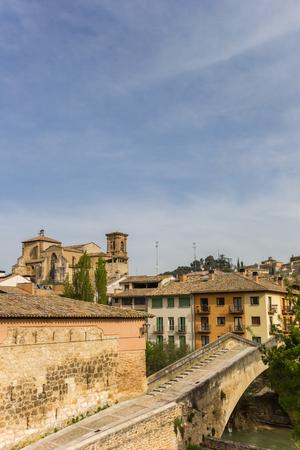 Old roman bridge in the historic city of Estella, Spain