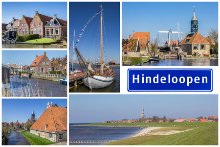 Collage of interesting sights in the Frisian city of Hindeloopen, Netherlands