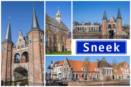 Collage of interesting sights in the Frisian city of Sneek, Netherlands