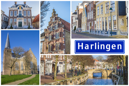 Collage of interesting sights in the Frisian city of Harlingen, Netherlands