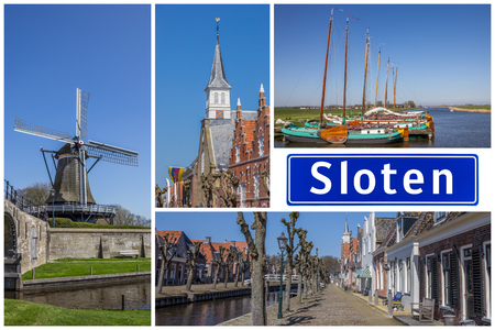 Collage of interesting sights in the Frisian city of Sloten, Netherlands