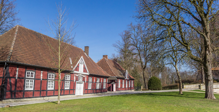 Panorama of historic red half timbered houses in Rheda-Wiedenbruck, Germany Editorial