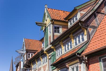 Colorful facades of historic houses in Lauenburg, Germany Stockfoto