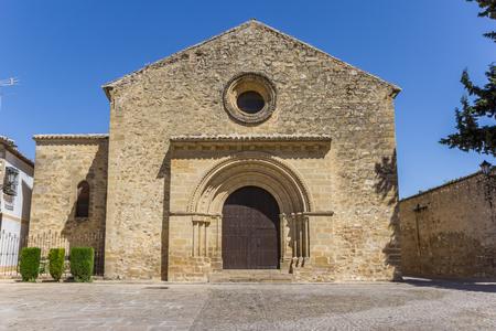 Front of the Romanica Santa Cruz church in Baeza, Spain