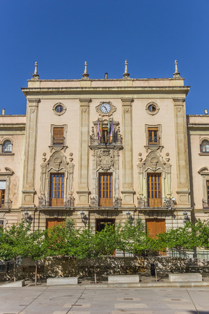 Historic town hall at the cathedral square of Jaen, Spain