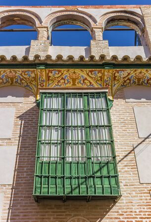 Bay window at a historic house in Ecija, Spain 版權商用圖片