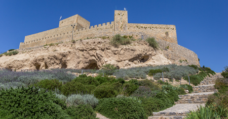 Historic castle on top of the hill in Alcaudete, Spain