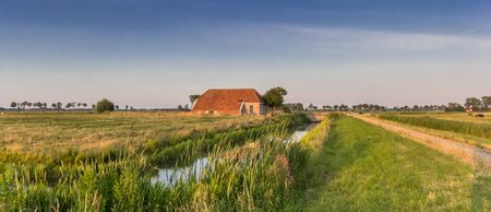 Panorama of a little farm in Groningen, Netherlands Stockfoto