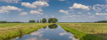 Panorama of the Dwingelerstroom river in Drenthe, Netherlands