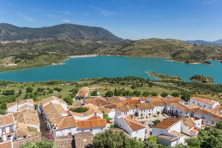 Zahara de la Sierra village at the lake in Grazalema natural park, Spain