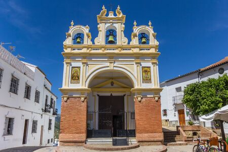 Front of the historic San Juan church in Zahara, Spain