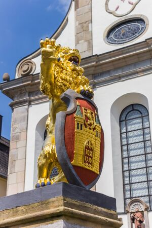 Golden lion and city weapon at the market square of Hachenburg, Germany