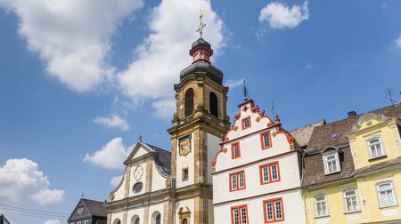 Tower of the Maria church at the market square in Hachenburg, Germany