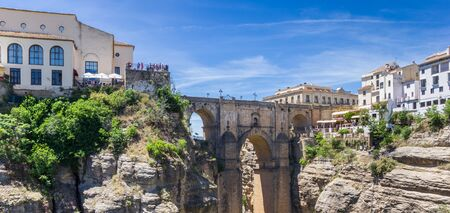 Panorama of the historic Puente Nuevo bridge in Ronda, Spain