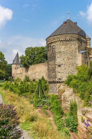 City wall and towers in the historic center of Andernach, Germany