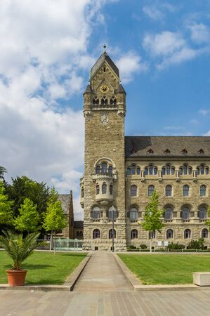 Tower and garden of the Oberlandesgericht building in Koblenz, Germany
