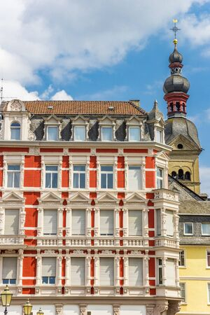 Colorful building and church tower in Koblenz, Germany Imagens