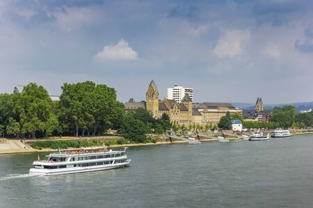 Cruiseboat at the river Rhine near Koblenz, Germany Imagens - 133497152