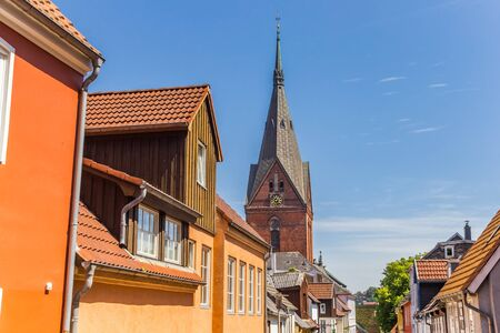 Colorful houses and church tower in Flensburg, Germany