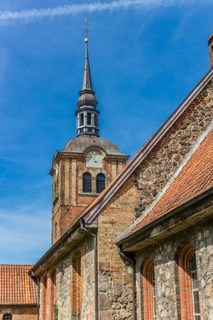 Tower of the Johanniskirche church in Flensburg, Germany Imagens - 133497216