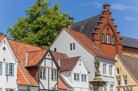 Old houses at the Nordermarkt square in Flensburg, Germany Imagens - 133497217