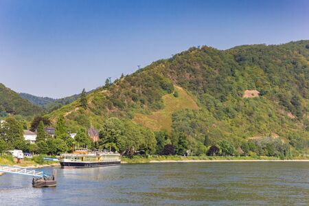 Landscape with the river Rhine and mountains near Boppard, Germany