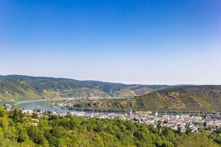 Panoramic view over historic city Boppard and the Rhine river, Germany