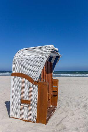 Traditional Strandkorb beach chair on Rugen island, Germany
