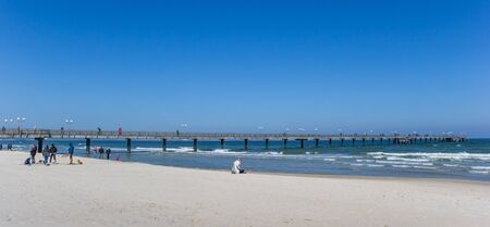 Panorama of the sea bridge in Binz on Rugen island, Germany Imagens
