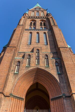 Tower of the historic Dom church in Schwerin, Germany