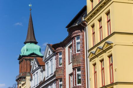 Colorful houses and church tower in Schwerin, Germany