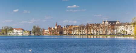 Panorama of the Pfaffenteich lake in Schwerin, Germany Imagens - 132845932