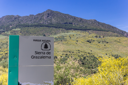 Tourist sign in the Grazalema natural park, Spain Editorial