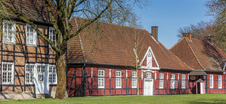 Panorama of red half timbered houses in the castle park in Rheda, Germany