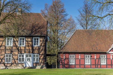 Historic brick houses in the castle garden of Rheda-Wiedenbruck, Germany