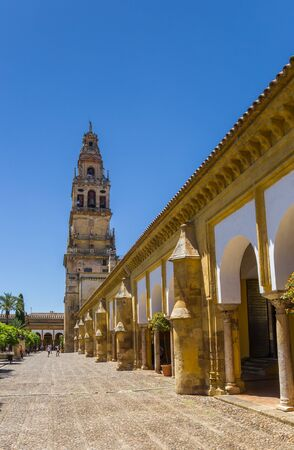 Bell tower at the courtyard of the mosque cathedral in Cordoba, Spain