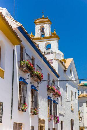 White houses and San Basilio church in Cordoba, Spain