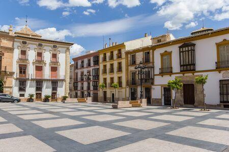 Plaza Espana square in the historic center of Lorca, Spain