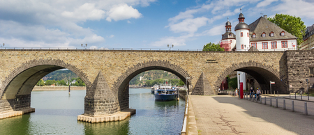 Panorama of the historic Balduinbrucke bridge over the river Mosel in Koblenz, Germany Imagens - 133490956