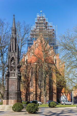 Rubenow sculpture and St. Jacobi church in Greifswald, Germany