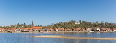 Panorama of the historic city Lauenburg and river Elbe in Germany
