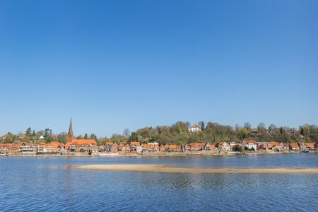 River Elbe and historic city Lauenburg in Schleswig-Holstein, Germany