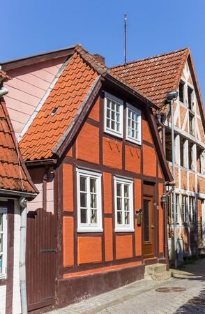 Half timbered house in historic city Lauenburg, Germany