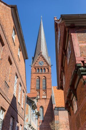 Tower of the Maria church in the historic center of Lauenburg, Germany Imagens