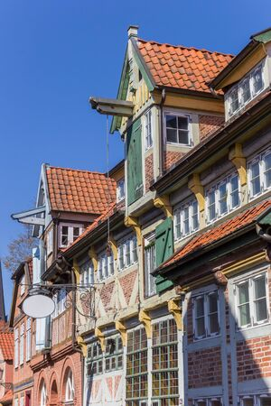 Colorful facades of historic houses in Lauenburg, Germany Imagens