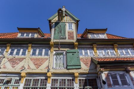 Hoist at the facade of an old house in Lauenburg, Germany