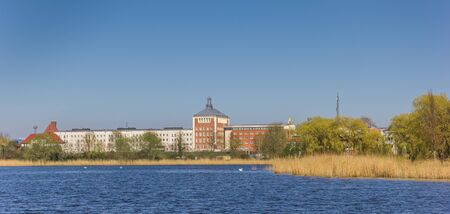 Frankenteich lake and park in Hanseatic city Stralsund, Germany
