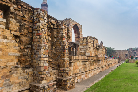 Ruins of a wall at the Qutub Minar in New Delhi, India